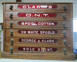 Antique 19th Century Clark's Spool Cabinet Ruby Red Glass