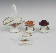 ROYAL ALBERT OLD COUNTRY ROSES ORNAMENT BASKET AND SALT PEPPER SHAKERS LOT