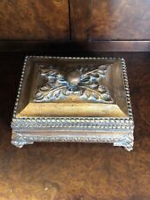 Vintage Square Decorative Tuscan Style Distressed Antique Gold Box w/ Lid