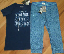 Under Armour Redefine The Rules top & capris cropped leggings NWT girls' L YLG