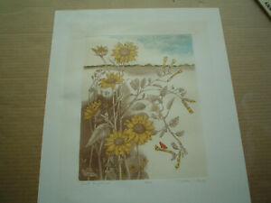 """MARTHA PURDY Original Colored Etching """"Wild Sunflowers"""" - Signed & Numbered"""