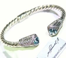 New BJC SAMUEL B BEHNAM STERLING SILVER BLUE TOPAZ BANGLE BRACELET 925