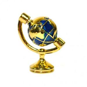 Dolls House Small Brass World Desk Globe Miniature Study Ornament Accessory