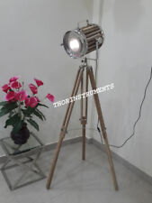Vintage Hollywood Spot light Searchlight Floor Lamp With Natural Tripod Stand