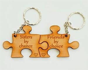PERSONALISED Jigsaw Keyring Wooden Cherry Veneer Gift For Sisters/Family Members
