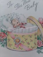 1943 Vtg Rust Craft BABY 1st Prize LACE Trim Hat Box Congrats GREETING CARD