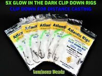 5 X SEA FISHING GLOW IN THE DARK LONG DISTANCE CLIP DOWN RIGS COD BASS PLAICE