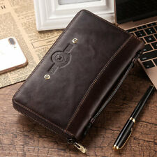 Men's Genuine Leather Clutch Business Handbag Top Layer Cow Leather Long Wallet