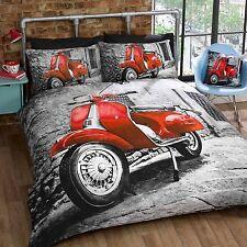 rétro Trottinette rouge gris Set Housse de couette simple avec housse d'oreiller
