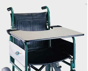 Strong Wheelchair Work Tray Wood Table with Ties Wipe Clean Food Surface
