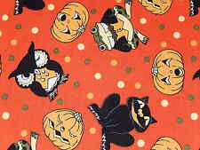 HALLOWEEN SIMPLY SPOOKY VINTAGE WORKSHOP RED ROOSTER FABRICS PUMPKIN COTTON FQ