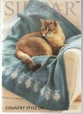 "B11 #7828 Knitting Pattern Sirdar Country Style DK Cat Blankets 29.5""x29.5"""
