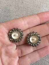 Vintage Stunning Marcasite Silver Tone Earrings Art DECO Flower Glass Clip On GC