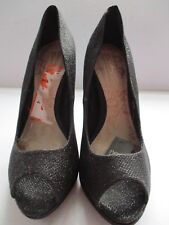 OPULENCE BY NEXT LADIES BLACK PLATFORM PATTERNED PEEP TOE SHOES SIZE 5/38 NEW