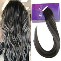 Balayage Ombre Invisible Tape in Human Hair Extensions Skin Weft Hair 1b/silver
