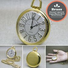 Gold Plated Antique BRASS Open Face Quartz Pocket Watch Fob Chain Gift Box P107