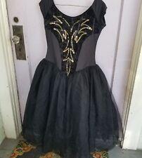 Algy Retro Ballet Lyrical Recital Kids Black Gold Tulle Dance Costume XL Dress