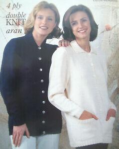 Ladies LONG LENGTH CARDIGAN Jacket KNITTING PATTERN 4 ply DK Aran  32 - 46in