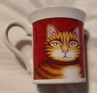 Vintage 1987 JAPAN HALLMARK Tabby Cat COFFEE MUG Red Cup Orange Kitty Cats Meow