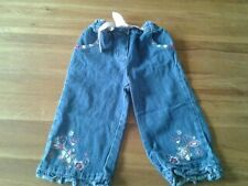 Baby Girls 18-23 months - Blue Denim Jeans, Floral Embroidery - Ladybird