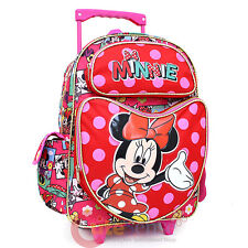 "Disney Minnie Mouse School Roller Backpack 16"" Large Rolling Bag Comic Book"