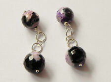 Purple fire agate chainlink gemstone cufflinks