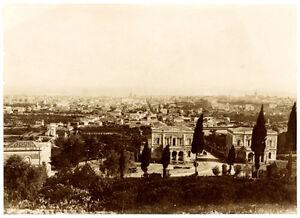 Catania Sicily Unusual Panorama Large vintage albumen photo 1890c unmounted