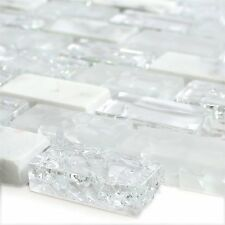 Glass Natural Stone Mosaic Tiles Broken White Effect Brick