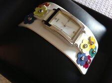 NIB, Women's GUESS watch,white leather strap w/multi color florals rhinestones