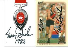 HALL OF FAME / CRICHTON  MEDAL CARDS SIGNED BY TERRY DANIHER