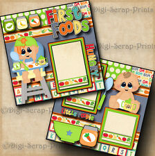 FIRST FOODS ~ BABY BOY ~ 2 premade scrapbooking pages paper piecing ~ DIGISCRAP