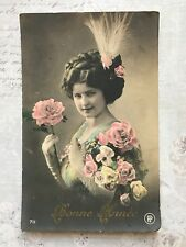 Beautiful Lady Glamour French Fashion Original Vintage Postcard c.1922