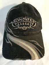 Monster Garage Black Gray Distressed Baseball Cap Hat