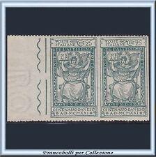 1921 Italia Regno Dante cent. 25 verde Coppia Non dentellata Varietà n. 117i **