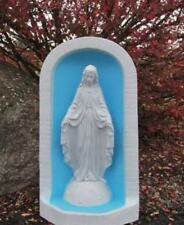 "Mary Grotto Garden Statue 25"" Gray Tone Shrine Niche Our Lady of Grace Yard Art"
