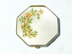 1931 Solid Silver + Guilloche Flowers Enamel VOGUE Tap Patent Powder Compact