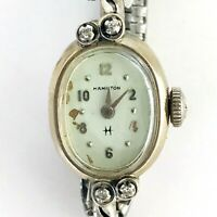 VINTAGE WOMENS HAMILTON WATCH  10k R.G.P. & STERLING 4-STONES SELF WIND WORKING!