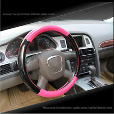 Car winter General Plush PU Steering Wheel Cover 38cn Pink + Black Brand new