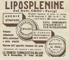W6381 LIPOSPLENINE del Dott. Croc - Pubblicità 1929 - Advertising