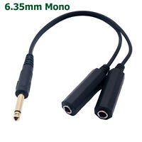 """6.35mm 1/4"""" Mono Plug Male to Dual 6.35mm Jack Female Splitter Adapter Cable 1ft"""