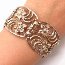 """925 Sterling Silver Antique Floral Openwork Panel Link Bracelet 7"""""""