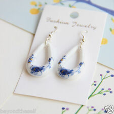 Beautiful blue and white female Chinese Jingdezhen Ceramic jewelry earrings