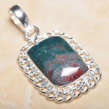 """Handmade Natural Bloodstone Jasper 925 Sterling Silver Pendant 2"""" #P09692"""