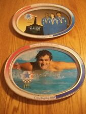 Lot of 2 McDonald's Metal Olympic Trays from 1984 Games Los Angeles Swimming +