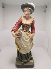 """Wood Carving Figurine/Statue-""""Lady With Fruit""""  Germany"""