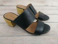 MADEWELL Women's Double Strap Sandals Mules Heels Black Size 8.5