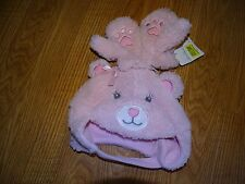 Starting out accessories Infant Pink Bear Gloves/Mittens Hat NWT