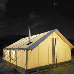 Alpha Canvas Wall Tent 12'x14' Waterproof Camping Tent w/Aluminum Frame 4 Season