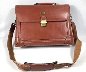 Brown REAL LEATHER Laptop Office Briefcase Shoulder Messenger Crossover Bag