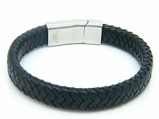 HIGH QUALITY LEATHER BRACELET BRAIDED 8.5 INCHES MEN'S WOMENS JEWELLERY BRACELET